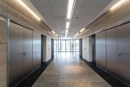 Entrance and corridor in a modern building interior