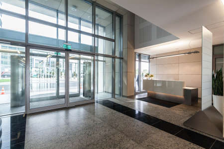 Entrance and reception in a new contemporary office building