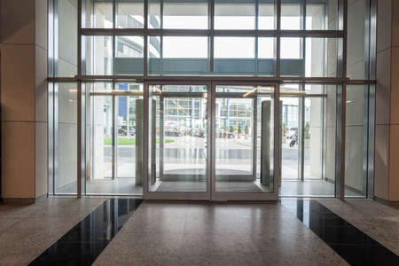 Glass entrance to new modern business centre