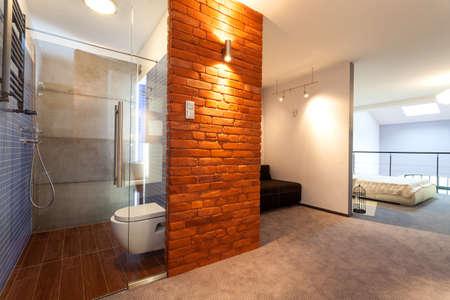 Bathroom and bedroom in a modern loft