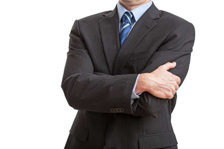 Man on isolated background with closed posture