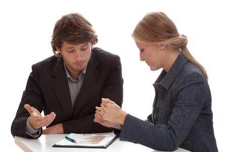 Hard negotiations between two financial specialists working for banks