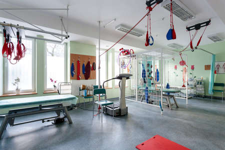 Room for physiotherapy with professional modern equipment