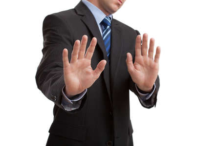 Man's body language showing disgust gesture, isolated