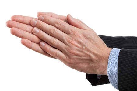 Businessman clapping his hands on isolated background