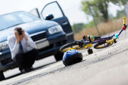 Horizontal view of a scared driver after accident
