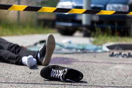 Close-up of a scene of a car crash