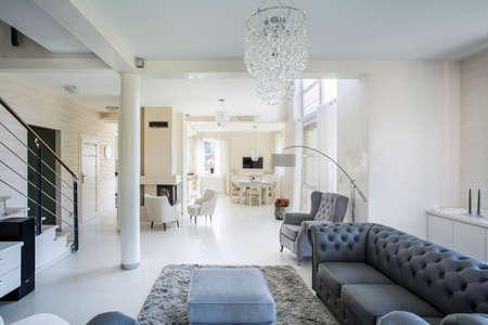 Horizontal view of interior of luxury apartment