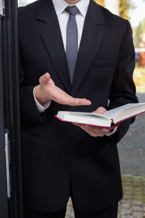 Vertical view of Jehovah's witness evangelizing