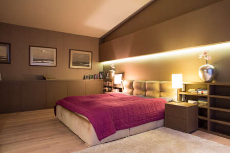 Spacious cozy bedroom with comfortable double bed