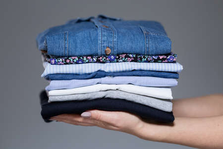 Horizontal view of perfect ironed female clothes
