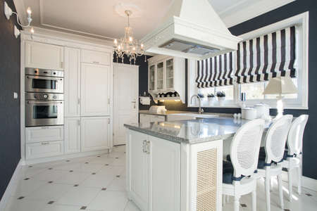 Beauty modern kitchen interior with white furniture