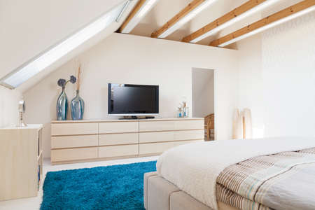Interior of luxury pastel bedroom in modern style