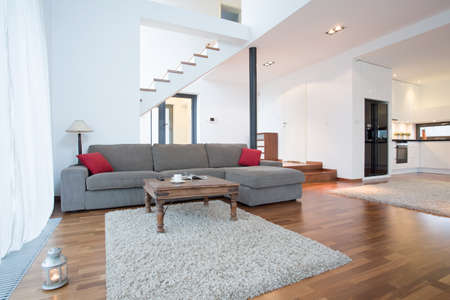 Gray sofa with red cushions in living room