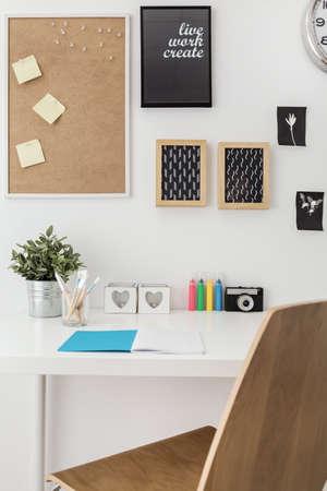 Well arranged desk in stylish office