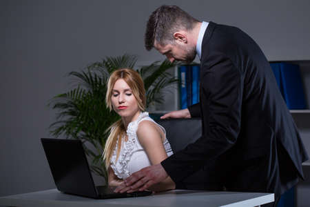 Confident boss being too close with his secretary