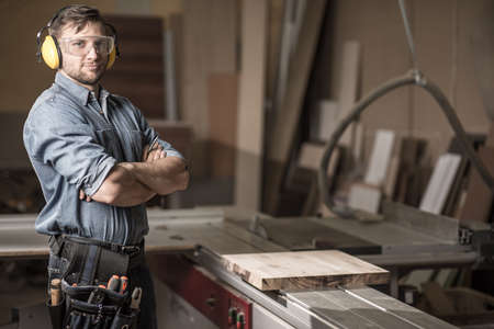 Image of mature carpenter in the workshop