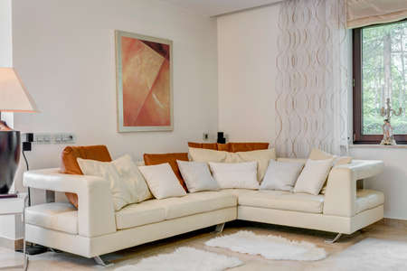 Cream corner sofa in luxury living room