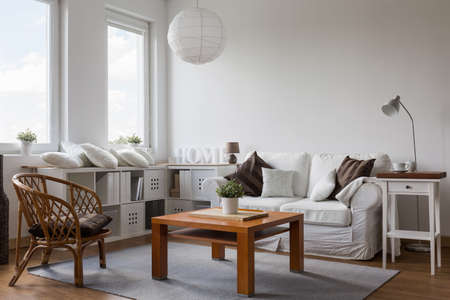 White and brown designed living room interior