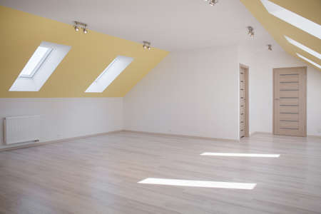 Huge empty bright room in the loft of commodious house