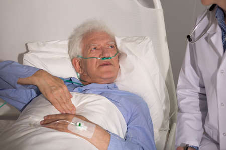 Patient with lung cancer staying in hospital