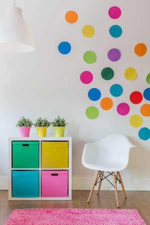 Interior of multicolor designed room for child