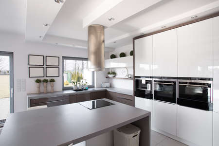 Photo for Contemporary minimalistic kitchen in a rich fashionable house - Royalty Free Image