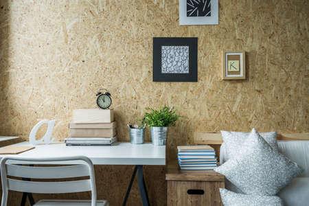 Wooden wall in designed teen girl room