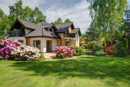 Photo for Photo of elegant new design villa with backyard - Royalty Free Image