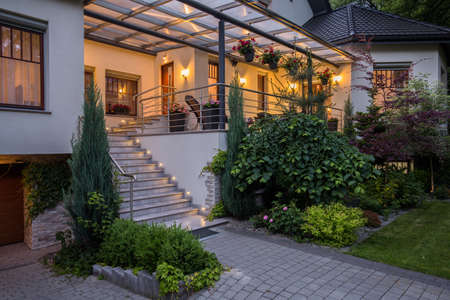 Foto de Image of main entry with stairs to luxurious house - Imagen libre de derechos