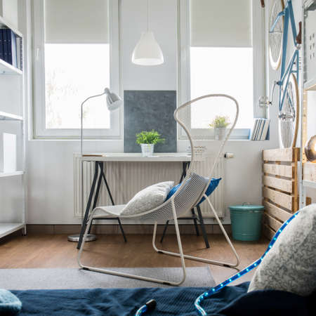 Small studio flat arrangement with inventive decorations