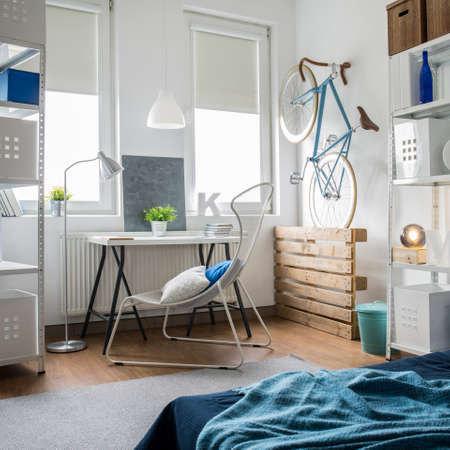 Small room decorated with shades of blue