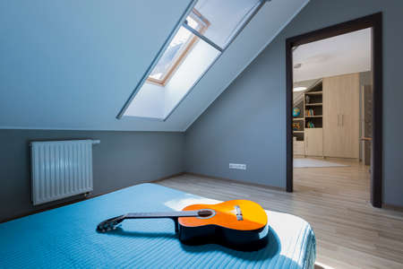 Bedroom interior in shades of blueness with big bed with a guitar, with a roof light and entry to the other room