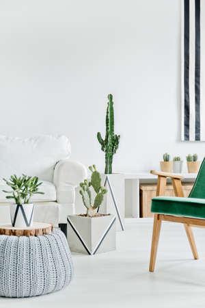 Photo pour Bright and cozy interior with white furniture - image libre de droit