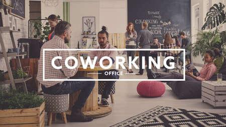 Workers of modern agency having break, coworking office
