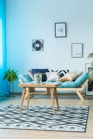 Blue, cozy living room with designer couch