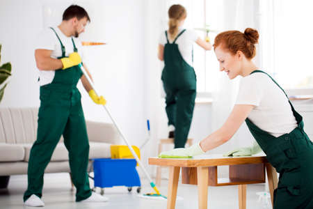 Cleaning crew washing furniture using professional equipment