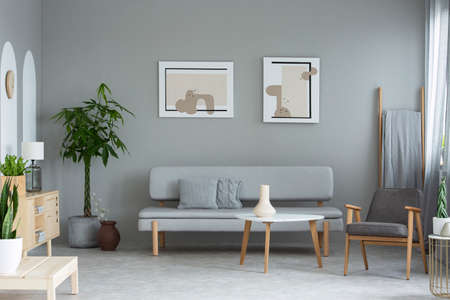 Posters above grey sofa in minimal living room interior with plants and armchair. Real photo