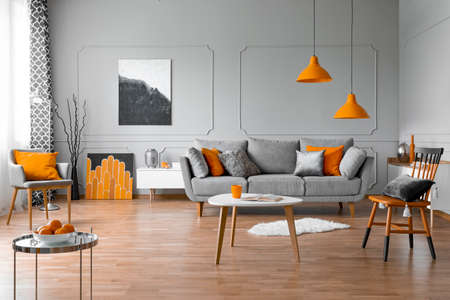 Photo pour Spacious living room interior with coffee table, stylish chairs and grey comfortable sofa - image libre de droit