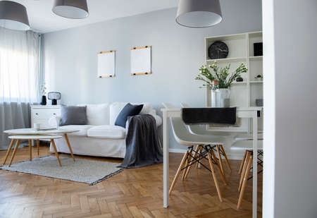 Photo pour Trendy living and dinning room interior in modern open plan apartment in the city - image libre de droit