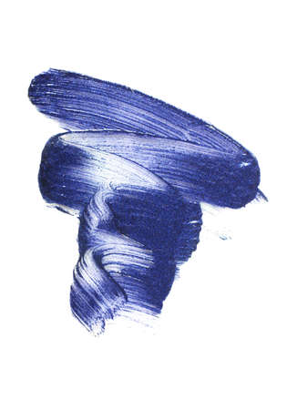 Foto de Classic shade of blue - color of the 2020 year.Glossy lipstick texture. - Imagen libre de derechos