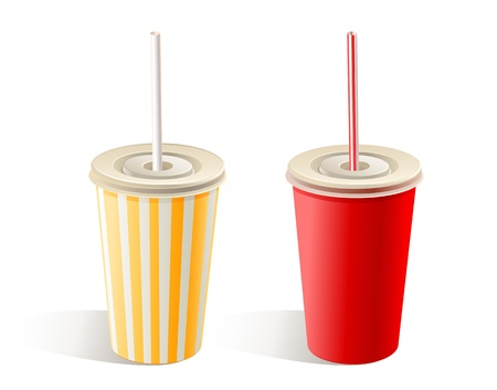 Two fast food paper cups with straw