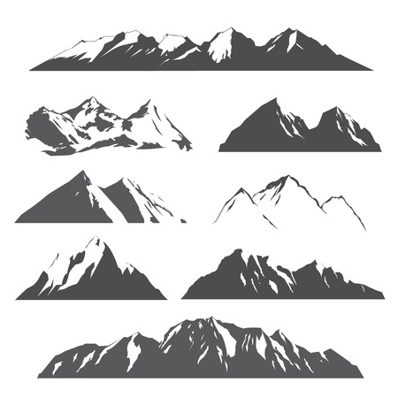 Illustration for set of vector silhouettes of the mountains on white background - Royalty Free Image