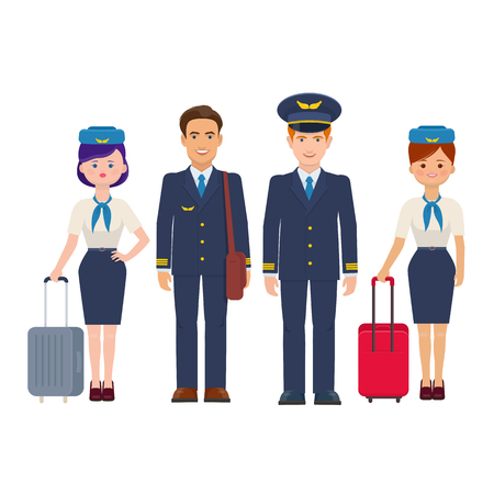 Ilustración de Group of pilots and flight attendants with luggage on white background. The flight crew of commercial aircraft. Vector illustration  - Imagen libre de derechos
