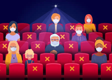 Illustration for Social distancing in the cinema after the quarantine period. Spectators wearing face masks sit as they keep a safe distance and watching movie in cinema hall. Vector illustration - Royalty Free Image