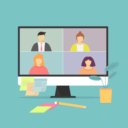 Illustration for Video call on the notebook screen with people. Business call. Negotiations . - Royalty Free Image