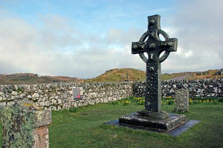 Ancient Celtic cross in old Kildalton churchyard, Isle of Islay, Scotland.