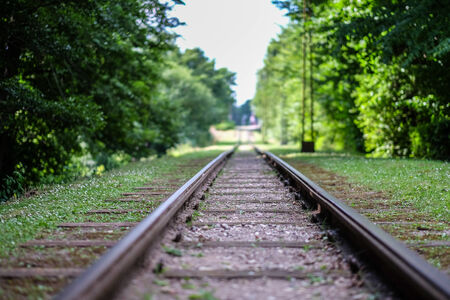 Old tracks from railway leading to an unknown destination.