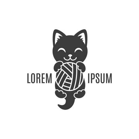 Illustration pour Black shape of kitten with ball in paws. Cat logo. Simple animal logotype for shop and vet clinic or handmade company - image libre de droit