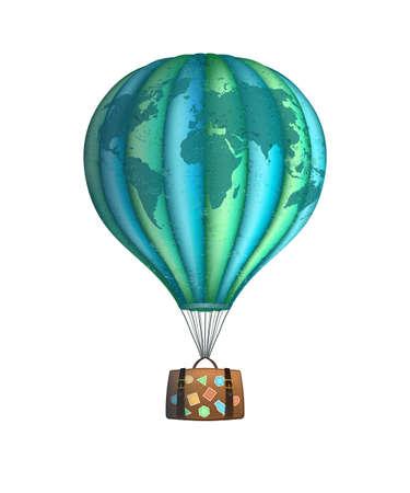 Ilustración de Vector conceptual art of hot air balloon with baggage isolated on white. Concept travel around the world - Imagen libre de derechos
